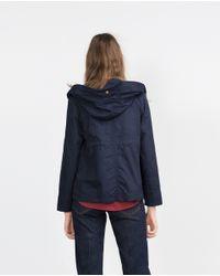 Zara | Blue Hooded Cotton Parka | Lyst
