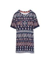 Tory Burch - Blue Printed Cotton Jersey T-shirt - Lyst