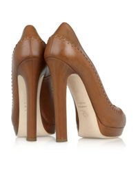 Alexander McQueen   Brown Stitched Leather Peep-Toe Pumps   Lyst