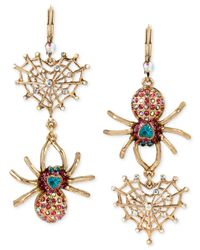Betsey Johnson | Metallic Gold-tone Crystal Spider And Web Mismatch Double Drop Earrings | Lyst
