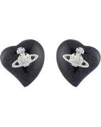 Vivienne Westwood | Black Liz Heart Earrings | Lyst