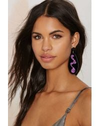 Nasty Gal - Black I Still Love You Nyc Squiggle Drops Earrings - Lyst