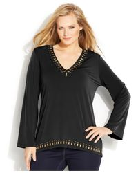 Michael Kors - Green Michael Plus Size Long-Sleeve Studded Top - Lyst
