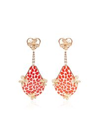 Bochic | Red Patterned Enamel and Diamond Butterfly Earrings | Lyst