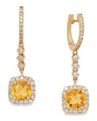 Macy's | Metallic Citrine (2 Ct. T.w.) And Diamond (3/4 Ct. T.w.) Drop Earrings In 14k Gold | Lyst