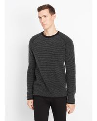 Vince | Black Cashmere Thermal Stripe Crew Neck Sweater for Men | Lyst