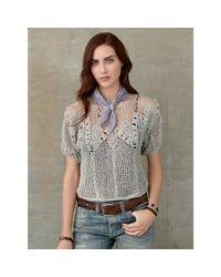 RRL - Gray Crocheted Linen Pullover - Lyst