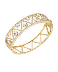 Swarovski | Metallic Dazzling Crystal Graphic Bangle Bracelet | Lyst
