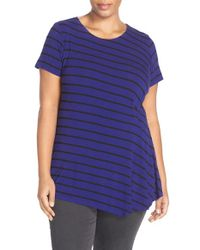Vince Camuto - Blue 'quarry Stripe' Short Sleeve Side Pleat Asymmetrical Top - Lyst