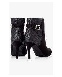 Express | Black Quilted Back Faux Suede Bootie | Lyst