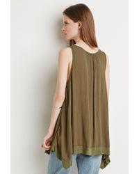 Forever 21 - Green Ribbed-hem Trapeze Tank - Lyst