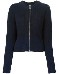 McQ - Blue Ribbed Knit Cardigan - Lyst