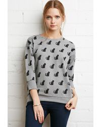 Forever 21 | Gray Cat Print Sweatshirt | Lyst
