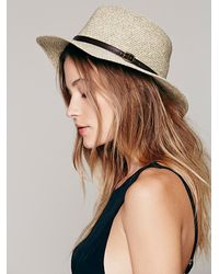 Free People | Natural Lucille Leather Banded Straw Hat | Lyst