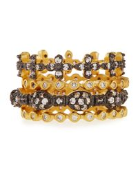 Freida Rothman - Metallic Set Of Four Mixed Cz Stackable Rings - Lyst