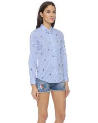 Mira Mikati - Blue Printed Surfers Stripe Shirt - Surfers Stripe Print - Lyst