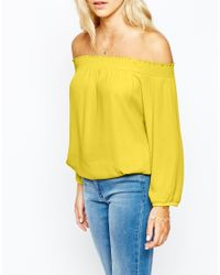 Oasis | Yellow Bardot Ls Top | Lyst