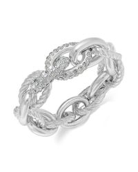 INC International Concepts - Metallic Silvertone Pave Link Stretch Bracelet - Lyst