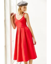 Kimchi Blue | Red Ponte Empire Waist Midi Dress | Lyst