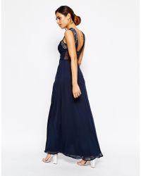Elise Ryan | Blue Ruched Bodice Maxi Dress With Eyelash Lace Trim | Lyst