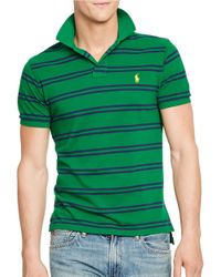 Polo Ralph Lauren | Green Striped Mesh Polo Shirt for Men | Lyst