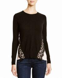 Aqua - Natural Cashmere Cashmere Leopard Lace Two Tone Sweater - Lyst