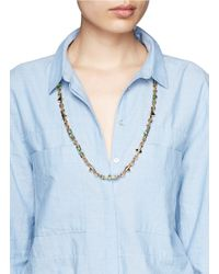 Iosselliani - Green Stone Stud Chain Necklace - Lyst