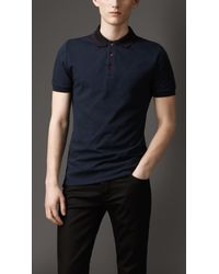 Burberry | Blue Trim Collar Polo Shirt for Men | Lyst