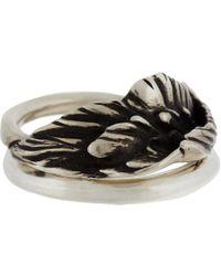 Werkstatt:münchen - Metallic Silver Wing Ring Combination for Men - Lyst