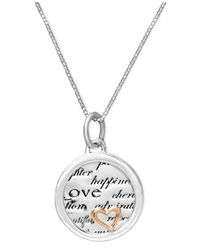 Macy's | Metallic Inspirational Sterling Silver And 14K Gold Over Sterling Silver Necklace, Inspirational Heart Drop Pendant | Lyst
