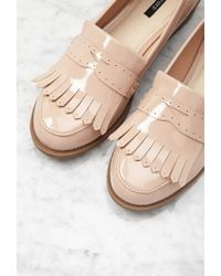 Forever 21 - Natural Fringed Faux Patent Loafers - Lyst