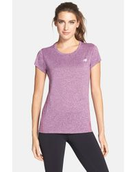 New Balance | Purple Heathered Short Sleeve Tee | Lyst