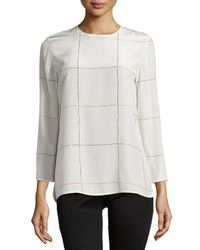 Theory - White Kula P Articulture Grid-Print Blouse - Lyst