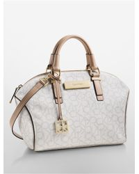 Calvin Klein | Natural White Label Jordan City Dome Satchel | Lyst