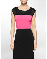 Calvin Klein | Black White Label Mesh Shoulder Detail Cap Sleeve Top | Lyst