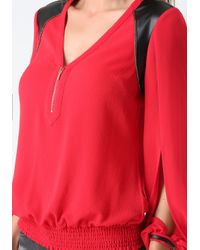 Bebe | Red Veronica Blouson Top | Lyst