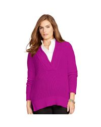 Ralph Lauren - Purple Cotton Split-neck Sweater - Lyst