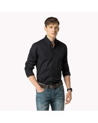 Tommy Hilfiger   Black Stretch Cotton Slim Fit Shirt for Men   Lyst