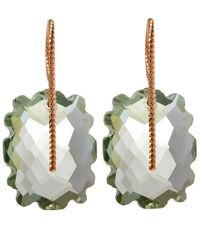 Laurent Gandini | Pink Rose Gold Light Green Scalloped Prasiolite Rectangular Earrings | Lyst