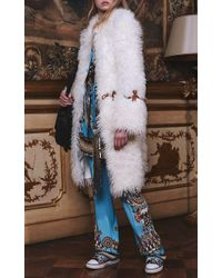 Roberto Cavalli | Blue Day Dream Printed High Rise Straight Leg Pants | Lyst