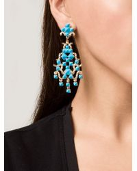 Valentino | Blue Chandelier Clip-On Earrings | Lyst