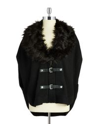 MICHAEL Michael Kors - Black Petite Faux Fur-collared Poncho - Lyst