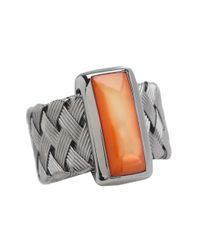 Roberto Coin - Woven Ring With Orange Mother Of Pearl - Lyst