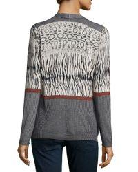 Neiman Marcus - Multicolor Animal-stripe Cashmere Cardigan - Lyst