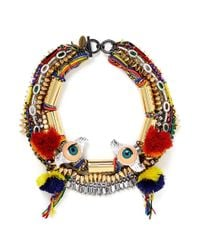 Venna - Multicolor Doll Eye Pompom Crystal Spike Threaded Necklace - Lyst
