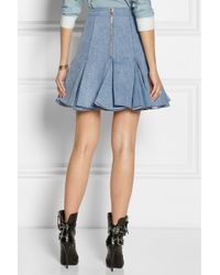 Balmain - Blue Pleated Denim Mini Skirt - Lyst