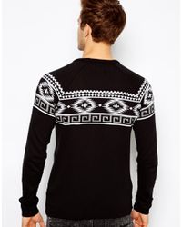 ASOS | Black Sweater with Geotribal Pattern for Men | Lyst