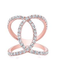 Anne Sisteron - Pink 14kt Rose Gold Diamond Luxe Cigar Band Ring - Lyst