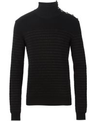 Balmain | Black Striped Turtle Neck Sweater for Men | Lyst