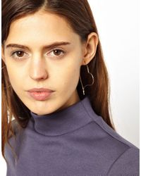 ASOS - Metallic Heart Hoop Earrings - Lyst
